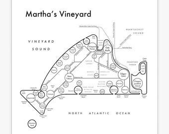 Martha's Vineyard Letterpress Mind Map