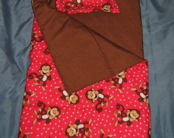 Curious George Doll Sleeping Bag in Pink or Green