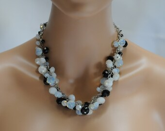 Bib Necklace, Dangle black and white Necklace, Statement Jewelry, Gift for her, crystal necklace, Short necklace