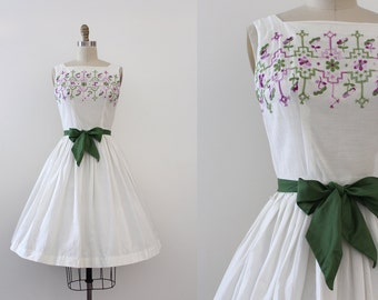 vintage 1950s dress // 50s white embroidered dress