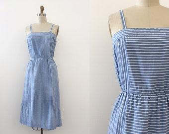 vintage 1970s dress // 70s blue striped day dress