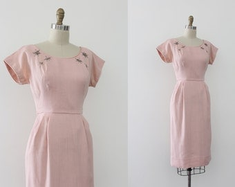 CLEARANCE vintage 1950s dress // 50s pink wiggle dress