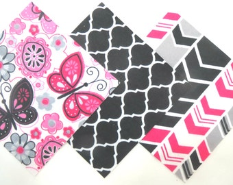 """36 Flannel Fabric Pre Cut 6""""x6"""" Quilt Squares in Pink, Grey, Black and White Flowers, Butterflies, Trellis and Arrow Matching Prints"""