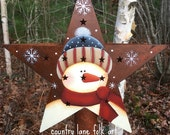 Snowman Christmas tree star, Tree topper star, Rusty tin star, hand painted, country Christmas, Snowman, Star