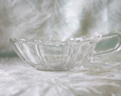 Depression Glass Nappy Oyster Pearl Clear Heart Shaped Spout Small Dish
