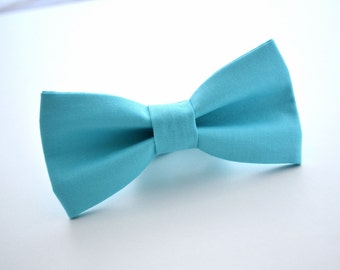 Mens Bowtie in Bahama Blue Kona Cotton, Blue Bow Tie, Aqua Bow Tie, Groomsmen Bow Ties, Wedding Bowties