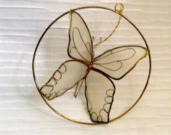Vintage Butterfly Capiz Shell Window Sun Catcher .1970's.  Kitsch. Mod, pop, Mid century, Eames Panton era.