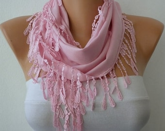 Pink Pashmina Scarf Winter Accessories Teacher Gift,Necklace, Cowl Scarf Shawl Gift Ideas For Her Women's Fahion Accessories