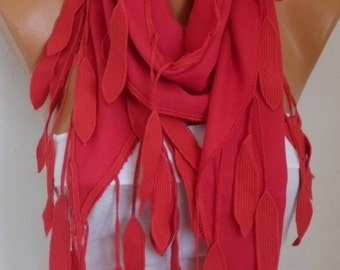 OOAK SCARF, Red Leaf Pashmina Scarf,Fall Winter Scarf, Cowl Scarf Gift Ideas For Her Women Fashion Accessories