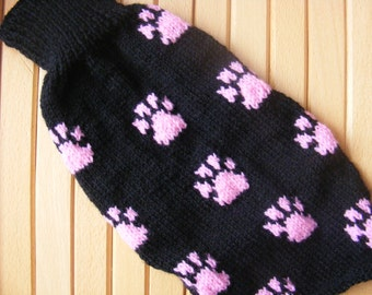 Dog sweater knitting pattern.Paw print Motif. Button up. 3 sizes small to med
