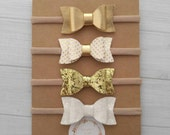 You Pick -  Mini Chunky Glitter and Faux Leather Bow Headbands- Metallic Gold, White/Gold Dot, Gold Glitter and White - Nylon Headbands