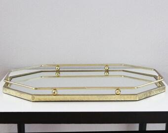 Gold Vanity Mirror Tray - Octogonal Mirror Tray - Gold Perfume Tray - Gold Bathroom Vanity Tray