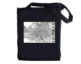 Tote Bag - Dublin Street Map - Vintage - Canvas Tote Bag - Ireland