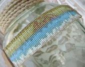 SALE OOAK Multi color Beaded leather cuff bracelet - Endless Summer / Daybreak - colorful sun beach fringe tassel beachy boho by slashKnots