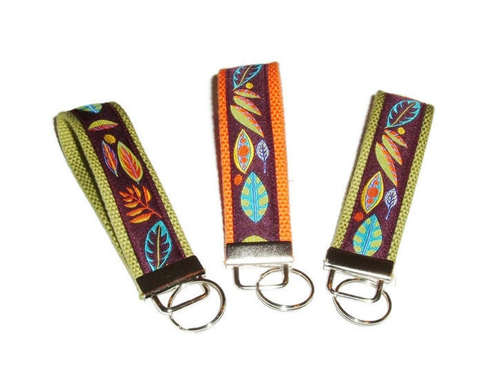 Autumn Leaves Key Fob - Back to School - Ribbon Key Fob - Gift for  Her - Teacher Gift - Stocking Stuffer - Gift Under 10