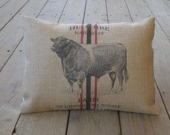 Bull Burlap Pillow, Feed sack pillow, Farmhouse pillows, INSERT INCLUDED