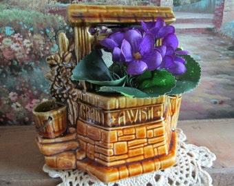 McCoy Pottery Wishing Well Planter   Vintage Gardening   Grant a Wish    Garden Wedding   Garden Tea Party
