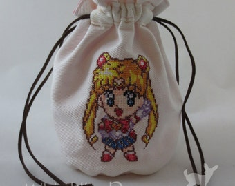 Sailor Moon Cross Stitch Embroidered Mini Drawstring Bag
