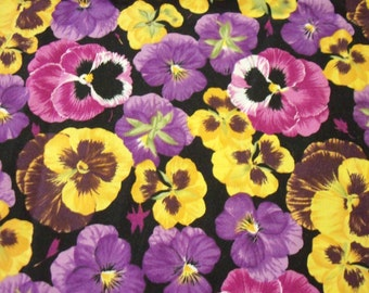 Pansies Fabric Beautiful Purple Pink Yellow Pansy  New By The Fat Quarter BTFQ