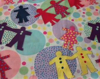 Paper Cut outs Fabric Colorful  New By The Fat Quarter BTFQ