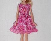 Barbie doll dress -Pink/Gold with lace hem  A4B041