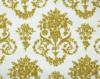 Retro Flock Wallpaper by the Yard 70s Vintage Flock Wallpaper - 1970s Gold Rose Floral Flock Damask on White