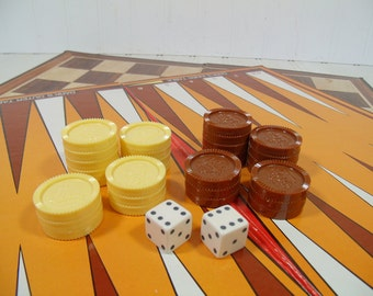 BackGammon & Checkers Board Games with Retro Plastic Checkers in Seventies Colors Game Room Equipment for Repurposing Decorating or Playing