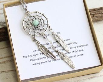 Antiqued Silver Dream Catcher Necklace with Aqua Amazonite