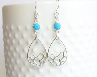 Sterling Silver Mosaic Drop Earrings with Turquoise Bezels