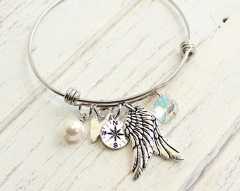 The Wings to Fly and Tools To Find Our Way... Silver Bangle Charm Bracelet