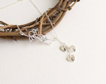 Sterling Silver Mother Bird Nest and Initial Cascade Lariat Necklace