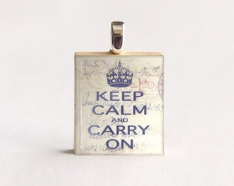 JULY SALE Scrabble® Necklace Pendant (Keep Calm Carry On) made from reclaimed Scrabble® tile letter. Scrabble® tile pendant. Gift Present fo