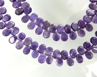 Amethyst Briolette Smooth Pear Drops AAA Quality Dark Purple 5 Strands Size 5x7MM Natural African Wholesale Price