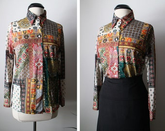 Vintage 70s Unique Mediterranean Button Down Shirt Size Small OOAK