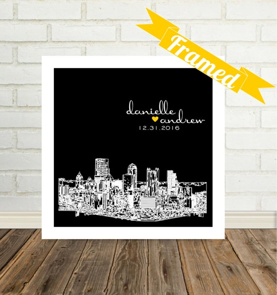 Personalized Wedding Skyline FRAMED ART Gift Print  Any City Worldwide City Silhouette City Skyline Personalized Art Valentines Day Gift