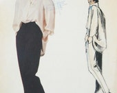 UNCUT 1980's Vogue Individualist Misses'  Claude Montana Loose Fitting Blouse and Pants Sewing Pattern 1470 Size 8 UNCUT
