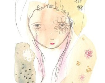 Lady of the flowers print, girl illustration, whimsical sad art