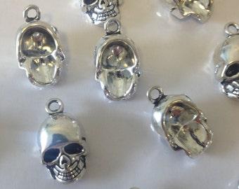 20 x Antique Silver Skull Charms Silver Skulls 16x10x8mm Skeleton Skull Pendants Halloween Skull Charms Jewelry Making Skull Charms