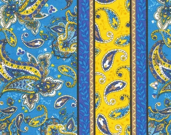 St Croix Stripe 11224241 by Fabri Quilt Blue and Gold Floral Paisley Stripe 100% Cotton Quilt Apparel Craft Novelty Paisley Flower