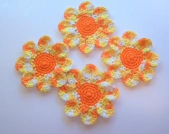 Daisy Coasters - Orange, Yellow, White - Set of 4 Large Cotton Coasters