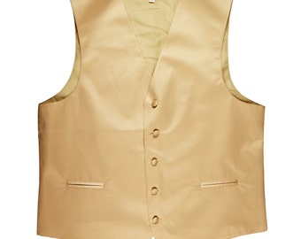 Men's Solid Beige Polyester Tuxedo Vest Waistcoat Only, for Formal Occasions