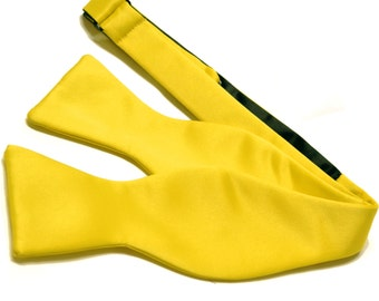 Men's Solid Yellow Self-Tie Bowtie, for Formal Occasions