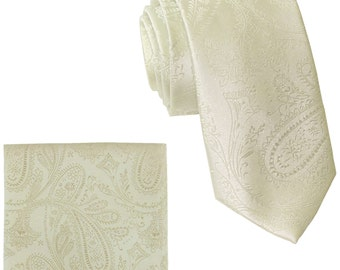 """Men's Paisley Ivory 2.5"""" Necktie and Handkerchief, for Formal Occasions"""