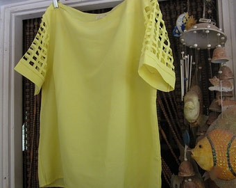 Gorgeous Canary Yellow Blouse Featuring Delicate Cutouts Fenestrated Sleeves, Vintage - Large to XLarge