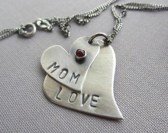 Mother's day Necklace/ Double heart necklace/ Silver Heart Necklace/ Carnelian Necklace/ Personalized Heart necklace/ Silver Heart pendants