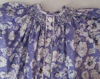 Fine Craft Hand Smocked Girls BISHOP DRESS-Lavender Purple-White Flowers-USA Cotton-Size 1, 18 mos