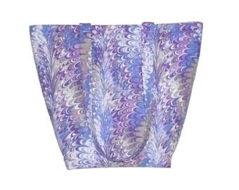 Purple Tote Bag, Marble Print Fabric Bag, Purple, Lavender, Gray, Cloth Purse, Handmade Handbag, Shoulder Bag