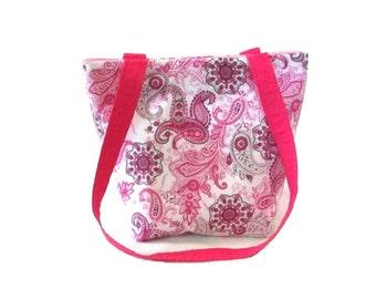 Paisley Purse, Small Fabric Bag, Handmade Handbag, Cloth Purse, Gray Paisley, Pink Flowers, Teen Purse, Shoulder Bag