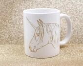 Unicorn Mug - Gold - Tea - Coffee Cup - Metallic Unicorn