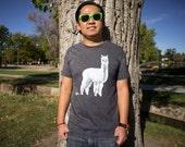 Men's Alpaca T-Shirt -Llama Shirt - 50/50 Blend Shirt - Hand Screen Printed T-Shirt